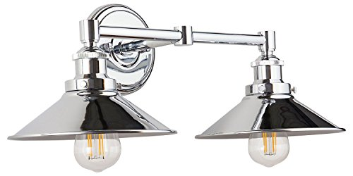 Andante LED Industrial 2 Light Wall Sconce - Chrome Fixture - Linea di Liara LL-WL427-PC - Two Bulb Wall Fixture