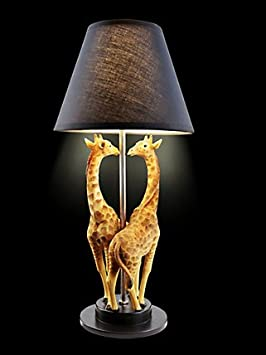 Pied De Lampe Girafe Style Africain Avec Girafes En Pierre