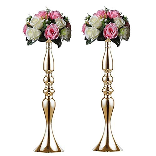 Nuptio 2 Pcs Versatile Metal Flower Arrangement, Candle Holder Stand Set Candlelabra for Wedding Party Dinner Centerpiece Event Road Lead Restaurant Hotel Decoration (Gold, 19.7