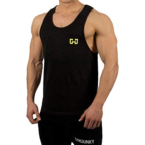 Ink T-shirt Yellow - OGOUGUAN Men's Muscle Gym Stringer Bodybuilding Tank Tops Men Workout Men Fitness T-Shirts (Black&Yellow, XXL)