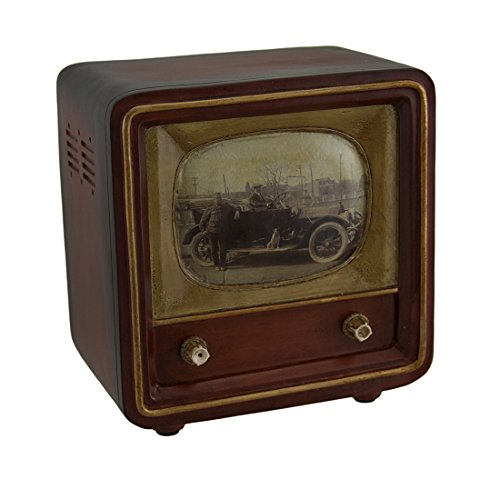 Zeckos Brown Vintage Finish Square Retro Television Coin Bank 6 Inch