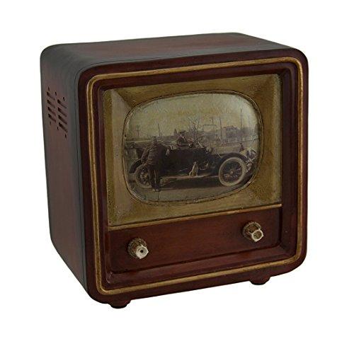 Zeckos Brown Vintage Finish Square Retro Television Coin Bank 6 - Vintage Coin Bank
