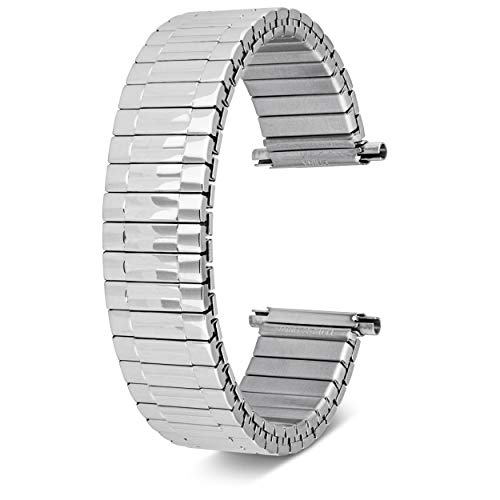 16-22mm, Men's Stretch Watch Band, Flex Radial Expansion Replacement Strap,Straight End,Expandable Ends, (Silver)