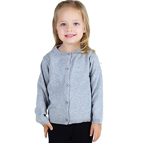 Wennikids Baby Girls' Little Knit Cardigan Button Sweater for 12M-6T Small Gray