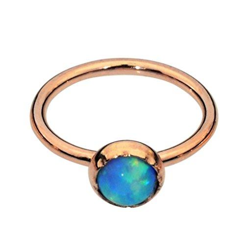 Sampson Nose Ring Hoop - Tragus Earring - Cartilage Earring - 14K Rose Gold Filled 20G 7mm Hoop 3mm Blue Opal