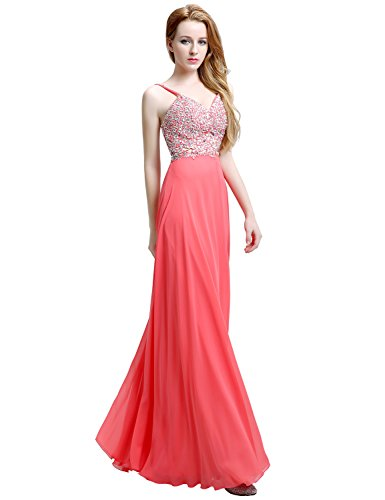 House Long Bridesmaid Chiffon Dresses Belle Coral Women's Gowns Prom Straps Evening dnFOqg
