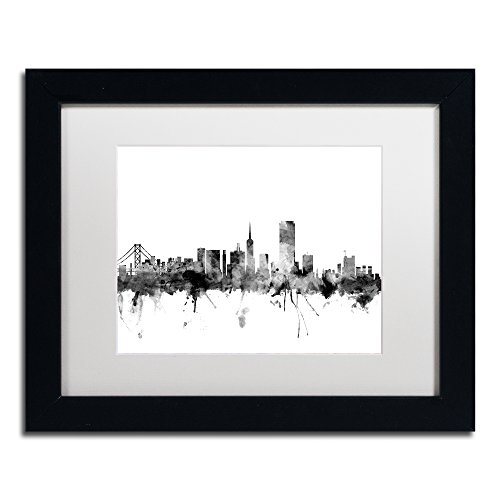 - San Francisco City Skyline B&W by Michael Tompsett, White Matte, Black Frame 11x14-Inch