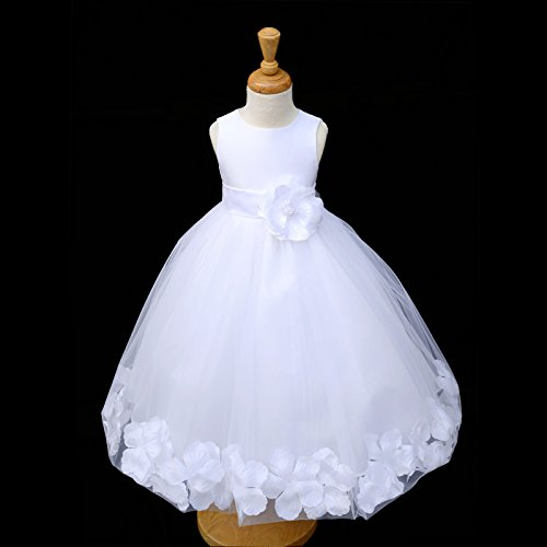 365ebb33921 ekidsbridal White Floral Rose Petals Flower Girl Dress Birthday Girl Dress  Junior Flower Girl Dresses 302s