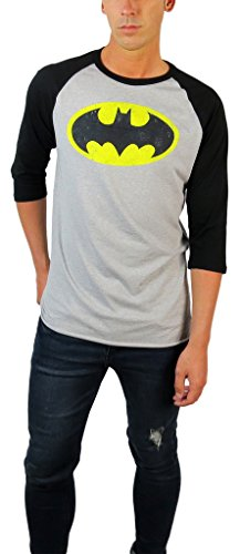 (DC Comics Mens Batman Distressed Logo 3/4 Sleeve Raglan Tee (Large, Grey Heather/Black))