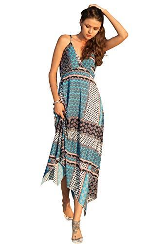 SheIn Women's Sexy Satin Deep V Neck Backless Maxi Party Evening Dress Large Multicolor
