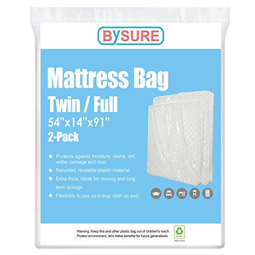 BYSURE 2-Pack 4 Mil Extra Thick Mattress Bag for Moving & Long Term Storage, 3D Envelope Shape Fits Twin/Full Size