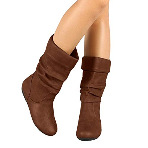 Syktkmx Womens Slouchy Boots Winter Wide Mid Calf Flat Low Heel Closed Toe Under Knee Boots -