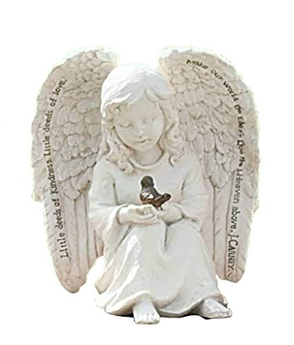 - Little Cherub Angel and Robin 6 x 6 inch Resin Stone Garden Statue Figurine