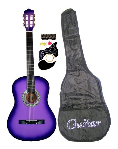 "38"" PURPLE Acoustic Guitar Starter Package, Guitar, Gig Bag, Strap, Pitch Pipe & DirectlyCheap(TM) Translucent Blue Medium Guitar Pick"