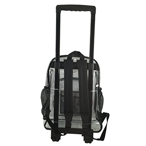 Rolling Clear Backpack Heavy Duty Bookbag Quality See Through Workbag Travel Daypack Transparent School Book Bags with Wheels Black by K-Cliffs (Image #3)