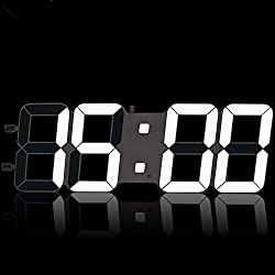TXL 18.7 Extra Large LED Electronic Wall Clock with Oversize Digits, Jumbo Digital Wall Clock 12/24Hr Mode/Light Sensor, Adapter Included for Seniors/Warehouse/Gymnasium/Garage,White