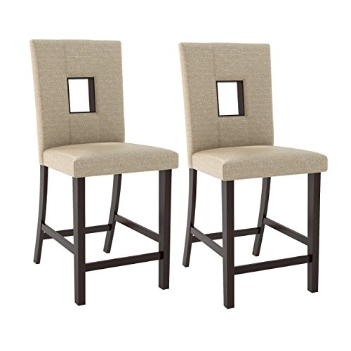 CorLiving DIP-460-C Bistro Counter Height Dining Chairs in Woven Cream Fabric, Set of 2, Cappuccino, Woven Cream Bistro Cream