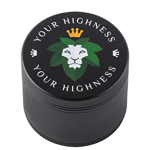 HERB GRINDER, 4-piece grinder, NEW 2019 HIGH QUALITY DESIGN, MATTE GRINDER, Premium Black Silicone Coating, 2.2 inch, grinder, spice, herb, by YourHighness (black)