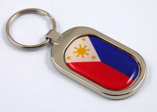 Chrome Keychain Ring Metal Key (Philippines Flag Key Chain Metal Chrome Plated Keychain Key fob keyfob)