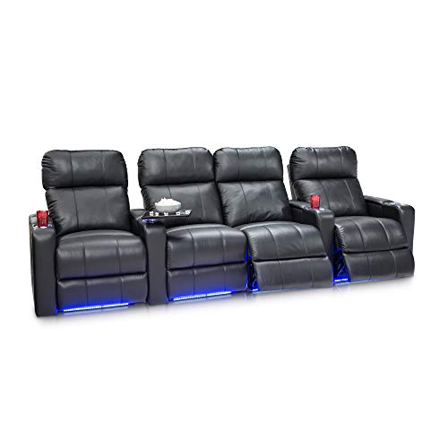 Seatcraft Monterey Leather Home Theater Seating Power Recline with Adjustable Powered Headrests, in-Arm Storage, and USB Charging, Row of 4 with Middle Loveseat, Black