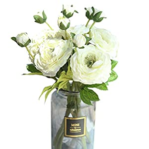 cn-Knight Artificial Flower 6pcs 15'' Silk Camellia Spray with Blossom&Bud Long Stem Tea Rose Faux Theaceae for Wedding Bridal Bouquet Bridesmaid Home Décor Office Baby Shower Centerpiece(White) 49
