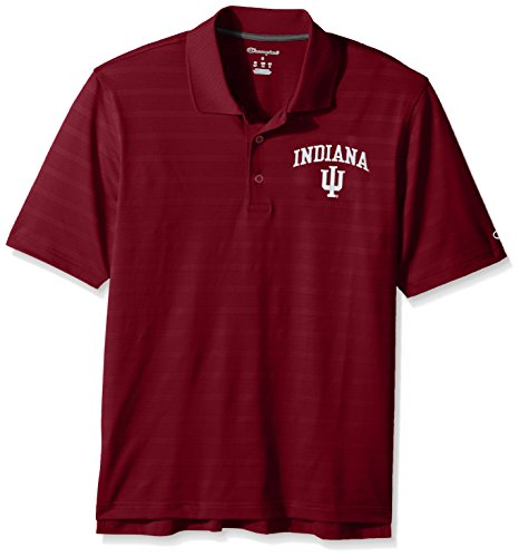 NCAA Champion Men's Textured Solid Polo, Indiana Hoosiers, Medium ()