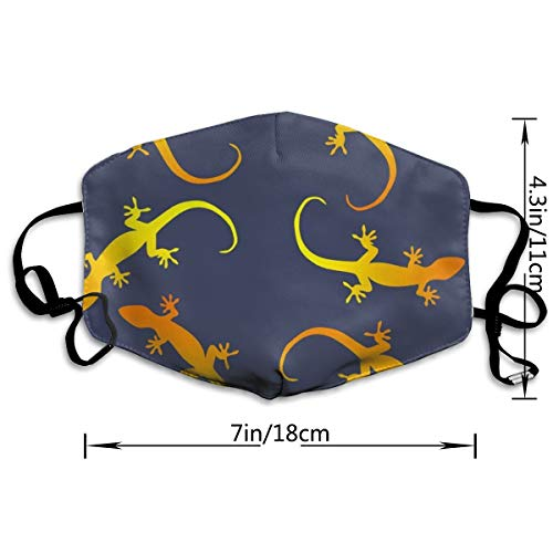 NOT Lizards Gecko Party On Dark Blue Personality Lovely Unisex Dust Mask, Suitable for Young Men and Women, Ski Bike Camping Windproof Motorcycle Face Mask