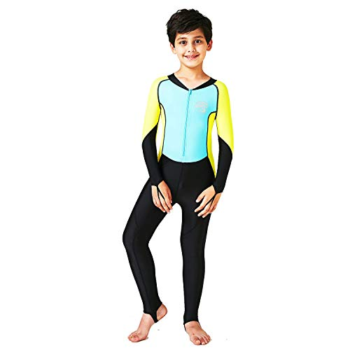 Scubadonkey 0.5 mm Lycra Full Body Quick Dry Wetsuit for Boys and Girls | UPF 50+ UV Protection | for Scuba Diving Surfing Fishing Kayaking Swimming (Sky Blue/Yellow, 12)
