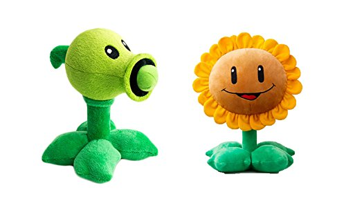 "Colorful Edays Plants Vs Zombies Plush Toy Peashooter + Sunflower 6"" Tall 19"