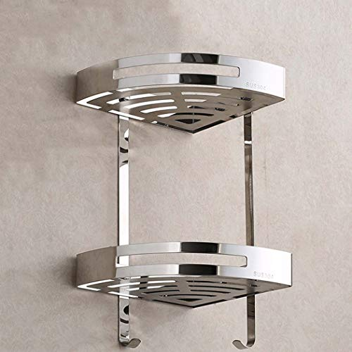 WSHZ Bathroom Corner Frame, Stainless Steel 2-Layer Shower Ball Rack Shower Room Storage Basket Wall-Mounted Space Can Accommodate Shampoo Clean Soap Silver 37 ()