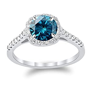 14K White Gold Graduating Cushion Halo Diamond Engagement Ring with a 1 Carat Blue Diamond Heirloom Quality Center