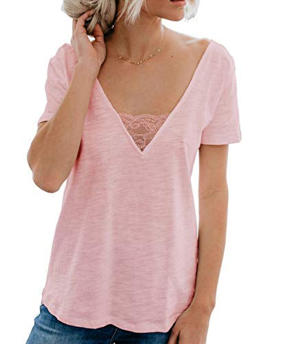- ANIXAY Women's Summer Short Sleeve V Neck Casual Tops Basic T Shirt Lace Womens Blouses Pink XL