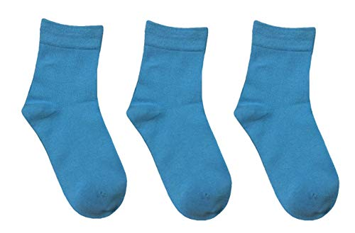 Rambutan Kids (3 Pack) Comfort Seam Plain Color Bamboo School Socks (13-2, Light Blue -