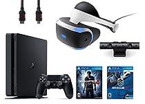 PlayStation VR Bundle 4 Items:VR Headset,Playstation Camera,PlayStation 4 Slim 500GB Console - U,VR Game Disc PSVR DriveClub ncharted 4