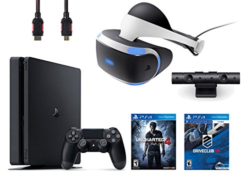 PlayStation VR Bundle 4 Items:VR Headset,Playstation Camera,PlayStation 4 Slim 500GB Console – U,VR Game Disc PSVR DriveClub ncharted 4