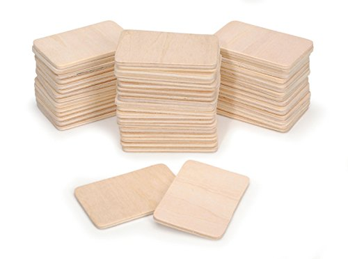 "Darice Unfinished Rectangle-Shaped Wood Pieces (50pc) - Light Unfinished Wood is Easy to Paint, Stain, Embellish - Perfect for Art and Craft Projects - Each Piece Measures 2.08""x1.37"", 3mm Thick"