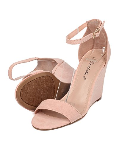 Alrisco Ankle Strap Wedge Sandal - Single Sole Wedge Heel - Dressy Wedding Special Occasion Casual Heel - HB07 by Breckelles Collection Blush Leatherette G9SvBBn4
