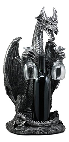 (Ebros Large Legendary Smaug Brewery Black Dragon Wine Valet Holder Statue for Wine Or Liquor Bottle and Two Wine Glasses )
