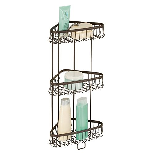 mDesign Free Standing Bathroom or Shower Corner Storage Shelves for Towels, Soap, Shampoo, Lotion, Accessories - 3 Tier, Bronze