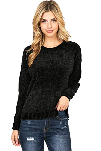 - Ambiance Women's Classic Soft Chenille Knit Pullover Sweater/Cardigan (L, Black)