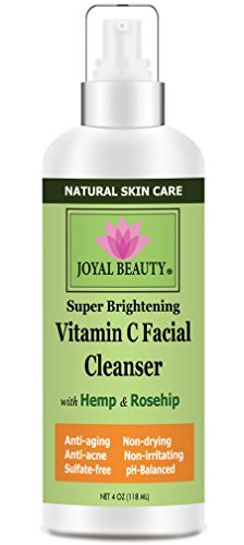 Best Face Wash-Vitamin C Facial Cleanser by Joyal Beauty. Natural Organic Gentle Face Cleanser with 15% Vitamin C,Hemp Oil, Rose Hip, Aloe Vera. Best Acne Face Wash. Non-drying. SLS-free.pH-balanced.