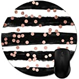 Julyou Chic Rose Gold Confetti Black Watercolor Stripes Mouse Pads