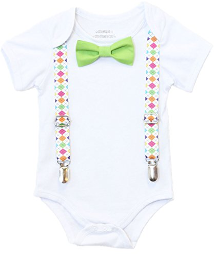 Noah's Boytique Baby Boys Easter Argyle Suspender Outfit - Baby Suspenders Lime Green