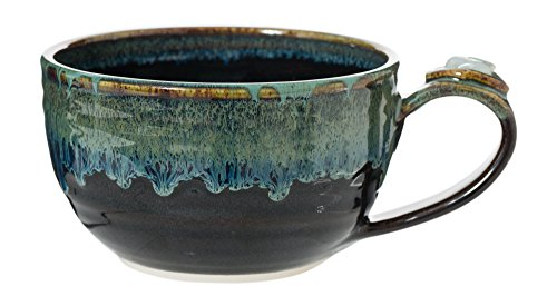 Healing Stone Handcrafted Unique Latte Mugs Featuring Energy Stones (Starry Night with Aquamarine)