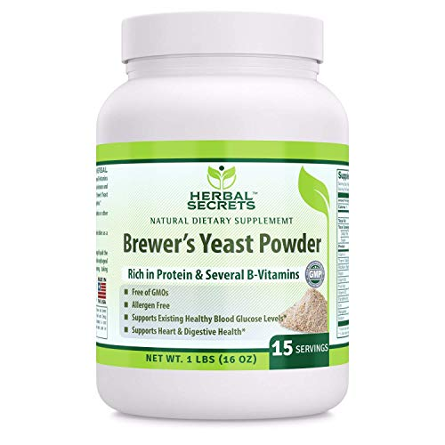 Herbal Secrets Brewer's Yeast Powder (Non-GMO) - Free of Allergen- Supports Existing Healthy Blood Glucose Level* Supports Heart & Digestive Health* (16 Oz (1 Lb.))