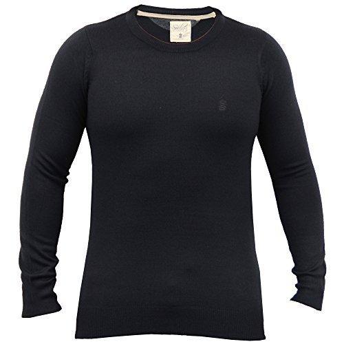 Pullover Herren Soul Star Strickpulli Rundhals Pullover V Ausschnitt Leicht Winter - Marineblau - ALPHACREW, X-Large