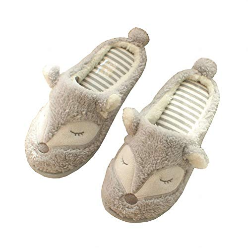 Cotton Fox DEED Cute Slip Winter Women's Slippers Home and Face Grey Cartoon Slippers Non Indoor Slippers Sweet Slippers Fall qZZtr1w