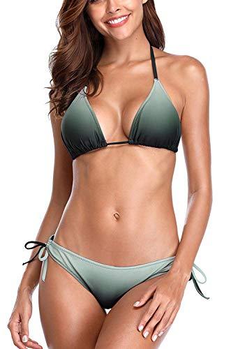 (CharmLeaks Womens Gradient Bikini Swimwear Push Up Bikini Set Gradient Triangle Bikini Top, L)