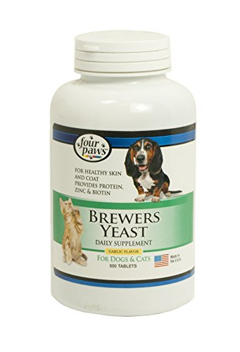 Four Paws Brewers Yeast Garlic Flavored Dog and Cat Tablets, 500 (Garlic Tablets Dogs)