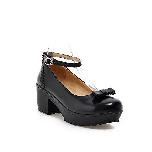 Balamasa Ladies Buckle Chunky Tacchi Piattaforma Urethane Pumps-shoes Nero